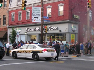 Police arrive at Bloomfield Rally